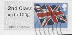 2013 '2ND CLASS' UNION FLAG' (NO CODES)  (WRONG VALUE)  FINE USED