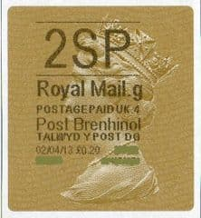 2013 '2SP' (G 4)POST BRENHINOL TYPE 2a LABEL(NEW SERVICE FROM 2ND APRIL 2013)