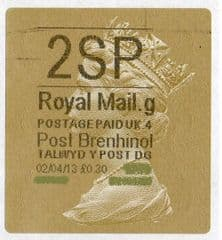 2013 '2SP' (G 4) WALSALL WELSH GOLD TYPE 3 LABEL (NEW SERVICE FROM 2ND APRIL 2013)