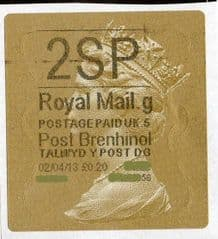 2013 '2SP' (G 5)POST BRENHINOL TYPE 2a LABEL(NEW SERVICE FROM 2ND APRIL 2013)