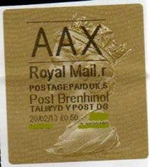 2013 AAX ( R 5) 'POST BRENHINOL' TYPE 2a (NEW SECURITY SLITS)  RARELY SEEN PREMIUM SERVICE LABELS