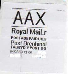 2013 'AAX' (R 5) POST BRENHINOL (VERY LATE USE)