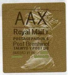 2013 'AAX' (R 5) WALSALL WELSH GOLD TYPE 3 LABEL