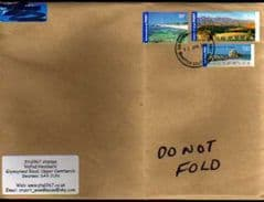 2013 AUSTRALIAN  ENVELOPE WITH 3 INTERNATIONAL POST STAMPS ON COVER