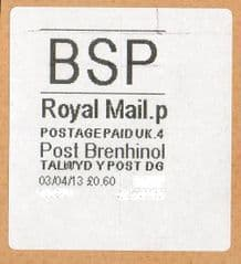 2013 'BSP '(P 4) POST BRENHINOL WHITE (NEW SERVICE FROM 2ND APRIL 2013)