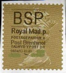 2013 'BSP'( P 4) 'POST BRENHINOL' GOLD PERF (NEW SERVICE FROM 2ND APRIL 2013)