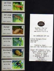2013 ( COLLECTORS SET)  'PONDLIFE ' (ABERYSTWYTH) (6v) (WELSH RECEIPT)(RARE- ALL GUILLOTINED !)
