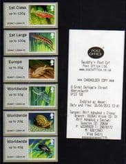 2013 (COLLECTORS SET) 'PONDLIFE ' (ABERYSTWYTH) (6v) (WELSH RECEIPT)(RARE- GUILLOTINED SET!)