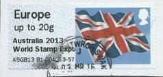 2013 EUROPE (UPTO 20g) 'UNION FLAG' (OVPT - AUSTRALIA 2013 WORLD STAMP EXPO)  FINE USED