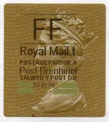 2013 FF (T 4) (£1.10) POST BRENHINOL (TYPE 2a) RARE LABELS