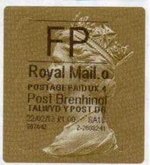 2013 'FP' (O 4) WALSALL WELSH GOLD TYPE 3 LABEL