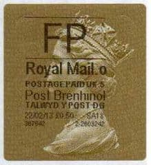 2013 'FP' (O 5) WALSALL WELSH GOLD TYPE 3 LABEL