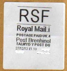 2013 RSF ( i 4)(£1.10) 'POST BRENHINOL'  NEW TARIFF  VERY RARE LATE USE