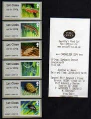 2013 ( SET) 1ST 'PONDLIFE ' (ABERYSTWYTH) (6v) (WELSH RECEIPT)(RARE- ALL GUILLOTINED !)
