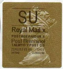 2013 'SU' (X 5) WALSALL WELSH GOLD TYPE 3 LABEL