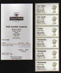 2013 U/M (COLLECTORS SET) 'POST & GO' (SCOTTISH CONGRESS OVERPRINT)(6v)+RECEIPT