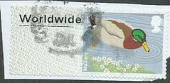 2013 (WORLDWIDE)  'BIRDS 3  -MALLARD (ERROR - MISSING TEXT ) FINE USED