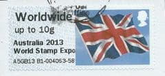 2013 WORLDWIDE (UPTO 10g) 'UNION FLAG' (OVPT - AUSTRALIA 2013 WORLD STAMP EXPO)   FINE USED