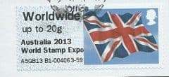 2013 WORLDWIDE (UPTO 20g) 'UNION FLAG' (OVPT - AUSTRALIA 2013 WORLD STAMP EXPO)   FINE USED