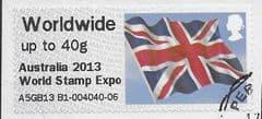 2013 WORLDWIDE (UPTO 40g) 'UNION FLAG' (OVPT - AUSTRALIA 2013 WORLD STAMP EXPO) FINE USED