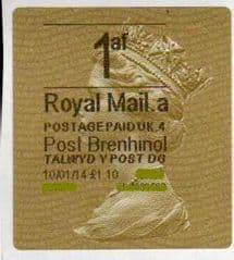 2014 1af ( £1.10)'POST BRENHINOL' GOLD TYPE 2 *RARE*  RARELY SEEN VARIATION ON ANY LABEL!