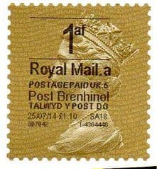 2014 '1af'( A 5) (£1.10)'POST BRENHINOL' GOLD PERF TYPE 1 WITH CODES  VERY LATE USE OF A RARE CODE 5 GOLD PERFED LABELS