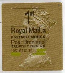 2014 1af (A 5)( £1.10)'POST BRENHINOL' GOLD  TYPE 2 *RARE*  RARELY SEEN VARIATION ON ANY LABEL!