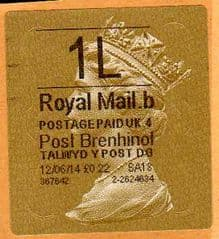 2014 '1L' (B 4) WALSALL WELSH GOLD TYPE 3 LABEL