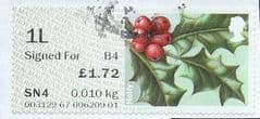 2014 1L (SIGNED FOR) (B4)   'WINTER GREENERY - HOLLY'  (TYPE IIa)    FINE USED