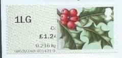 2014 1LG (C4)  'WINTER GREENERY - HOLLY'  (TYPE IIa)  N.C.R (PARTLY MISPRINTED)  FINE USED