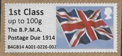 2014 1ST CLASS (UPTO 20g) 'UNION FLAG' (OVPT THE BPMA POSTAGE DUE 1914)