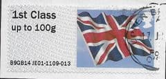 2014 1ST (UP TO 100g) 'UNION FLAG' (B9GB14 JE01) FINE USED