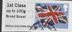2014 1ST (UP TO 100g) 'UNION FLAG' (BROAD STREET) FINE USED