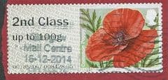 2014 2ND CLASS 'COMMON POPPY (ERROR -2ND CLASS ON A FIRST CLASS LABEL) FINE USED