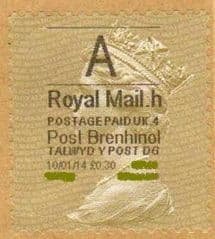 2014 'A'( H 4)  POST BRENHINOL GOLD PERF TYPE 1 ( VERY LATE USE)