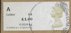 2014 'A' LETTER (H4) ' (MA14) POST & GO' FINE USED