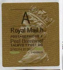 2014 'A '( H 4)(£0.00) 'POST BRENHINOL' TYPE 2a (NEW SECURITY SLITS)  LATE USE