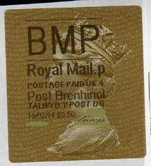 2014 'BMP' (P 4) POST BRENHINOL TYPE 2a LABEL  (NEW SERVICE FROM 2ND APRIL 2013) LATE USE
