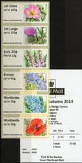 2014 'COLLECTORS SET 'SYMBOLIC FLOWERS ' (HYTECH) (6v) (B9GB14 A005)  WITH RECEIPT