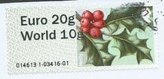 2014 EURO 20g/ WORLD 10G 'HOLLY' (WRONG FONT -WINCOR) FINE USED