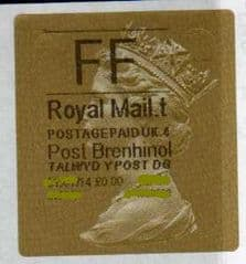 2014 'FF' (T 4)(£0.00) WALSALL WELSH GOLD TYPE 3 LABEL