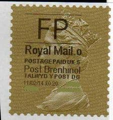 2014 'FP'( O 5) 'POST BRENHINOL' GOLD PERF  VERY RARE LATE USE