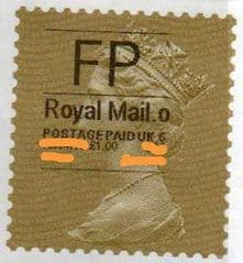 2014 FP (O 6) ROYAL MAIL TYPE I LABEL WITH CODES ( VERY RARE LATE USE)