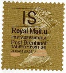 2014 'I.S'( U 4) 'POST BRENHINOL' GOLD PERF   (NEW SERVICE FROM 30 MAR 2014)  VERY LATE USE OF TYPE 1
