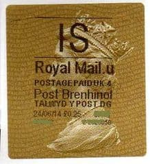 2014 'I.S' (U 4)POST BRENHINOL TYPE 2a LABEL    (NEW SERVICE FROM 30TH MAR 2014)  RARE LATE USE OF 2a