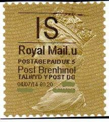 2014 'I.S'( U 5) 'POST BRENHINOL' GOLD PERF   (NEW SERVICE FROM 30 MAR 2014)  VERY LATE USE OF TYPE 1