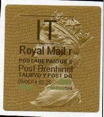 2014 'I.T' (R 5)POST BRENHINOL TYPE 2a LABEL   (NEW SERVICE FROM 30TH MAR 2014)  RARE LATE USE OF 2a