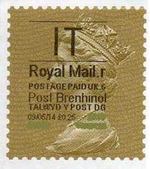 2014 'I.T'( R 6) 'POST BRENHINOL' GOLD PERF  (NEW SERVICE FROM 30 MAR 2014)  VERY LATE USE OF TYPE 1