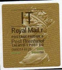 2014 'I.T' (R 6)POST BRENHINOL TYPE 2a LABEL   (NEW SERVICE FROM 30TH MAR 2014)  RARE LATE USE OF 2a