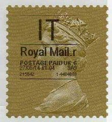 2014 'I.T' (R 6) 'ROYAL MAIL' TYPE 1 HORIZON   (RARE LATE USE OF TYPE 1)